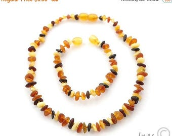 CHRISTMAS SALE Raw Unpolished Multi Color Baltic Amber Baby Teething Necklace and Bracelet/Anklet