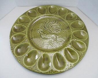 "Vintage Green Ceramic Deviled Eggs 11 3/4"" rooster plate marked 1069 Calif USA"