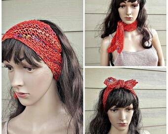 Boho cotton bamboo tie headband, nurses, yoga, pilates, bandana,  hippie, chic, original design, hair accessory, cool air flows through