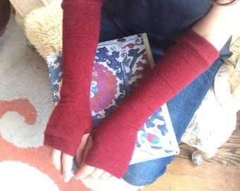 Cashmere Fingerless Gloves in red, Cashmere Arm Warmers, Womans Fingerless Gloves