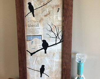 Birds on branches Wooden Sign Mixed Media Artwork