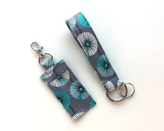 Chapstick/ USB Drive Holder and Keychain Wristlet- Handbag, Purse Accessories Set- Organic Fabric- Gray with White and Blue Flowers- Travel