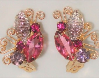 Vintage JULIANA DeLizza and Elster D&E Pink Light Purple Art Glass Rhinestone BUTTERFLY Clip Earrings