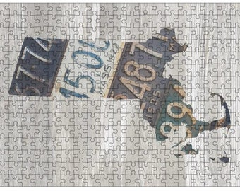 Massachusetts Jigsaw Puzzle | Vintage License Plate Art | State Outline | Fun Puzzle