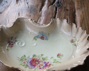 Floral continental china serving dish