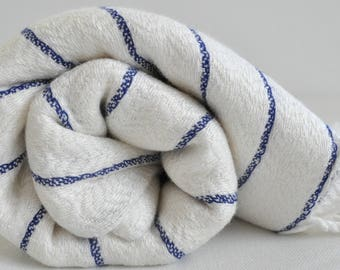 Turkish Bath Towel Bamboo Peshtemal Towel in ivory with navy stripes soft  genuine handloomed
