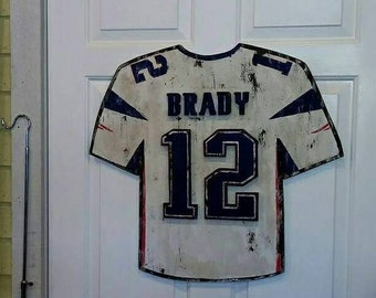 "Weathered ""Tom Brady"" Jersey Sign - vintage ""New England Patriots"" sports decor"