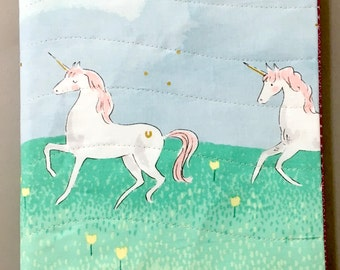 Fabric Covered Notebook - Unicorns
