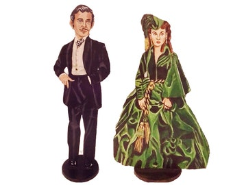 Rhett and Scarlett Gone with the Wind Hand Painted 2D Art Figurines