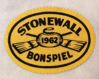 Curling Club Jacket Patch Fabric Patch Felt Patch Stonewall Bonspiel 1962 Yellow and Black