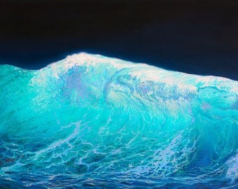 The wave - Powerful oil painting by Miki Karni