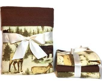 Baby Boy Gift Set - Flannel Baby Blanket - Boy Flannel Burp Cloths - Baby Boy Blanket - Deer Baby Blanket - Rustic Lodge Nursery - Elk Baby