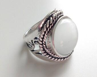 Boho opal ring II - Large gypsy ring - Silver ring - Cat eye ring - Ethnic ring - Boho hippie gypsy