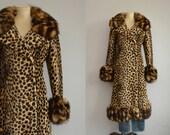 Vintage Faux Leopard Coat / 1960s Faux Fur Leopard Print Double Breasted Long Winter Coat