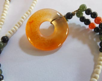 Carnelian Disk and Beaded Necklace