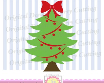 Christmas tree SVG, Christmas tree with bow SVG, Christmas Silhouette Cut Files, Cricut Cut Files CHSVG018 -Personal and Commercial Use