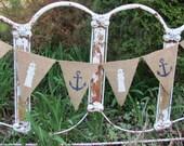 Nautical Burlap Banner, Anchor, Lighthouse, Beach Theme, Beach Cottage, Wedding, Shower, Birthday Garland, Summer Party