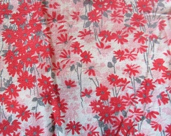 vintage feed sack fabric tablecloth -- pink and red floral print