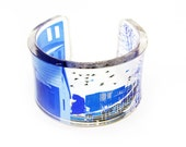Megalopolis is my City -  blue transparent acrylic resin bracelet cuff bangle with hand-printed art graphic image