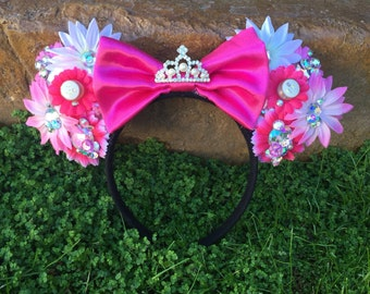 Pre-order Jeweled Light-up floral Mouse Ears Flower Crown Headband Sleeping Beauty inspired