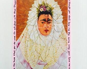 Frida Kahlo Wall Tile Plaque Pale Pink I Love You