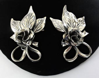 Rare 1940's Sterling Silver Roses Wingback Earrings Felch And Company Hallmark Danecraft Large 2 Inches Ear Climber Earrings