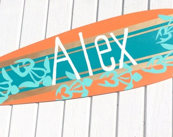 Personalized Surfer Themed Beach Sign, Surfboard Art, Beach Themed Bedroom Decor