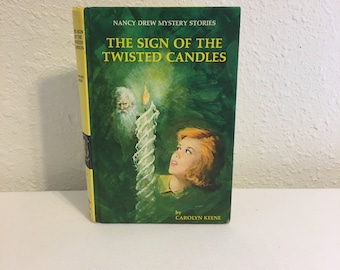Vintage Nancy Drew Hard Cover Book, The Sign of the Twisted Candles, Vintage Hard Back Matte Cover Book