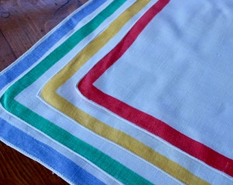 Vintage Linen Napkins White Luncheon Dinner Picnic Border Red Green Blue Yellow Stripe Four 4 Cloth
