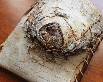 Vintage Birch Bark Pocket Rustic Adirondack Wood Curio Lodge Basket Hand Made