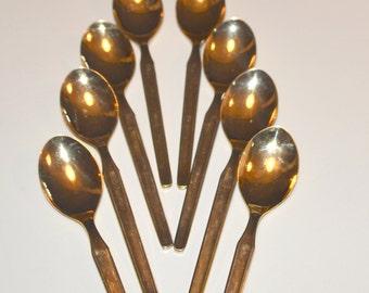 8 Vintage Gold Danube by Towne teaspoons, made in Austria silverware, set of 8 teaspoon, flatware