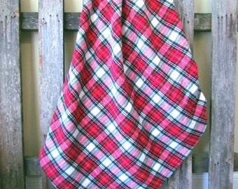 Plaid Baby Blanket || Oversized Toddler Throw Blanket || Red & Green Plaid Flannel Blanket || Oversized Flannel Baby Blanket