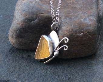 Sea glass jewelry,  Stunning rare yellow sea glass butterfly necklace