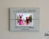 Disney Picture Frame, Personalized Family Frame, Christmas Gift, Family Vacation, Love Laugh Disney, Disney Family Gift