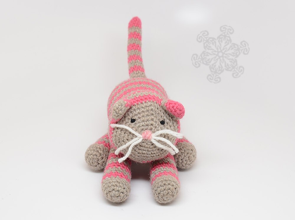 Amigurumi Cat Toy : Pink Cat Amigurumi Kitty Natural Toy Plush Toy Cat