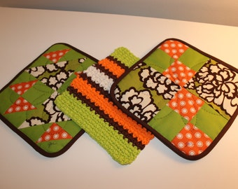 Hand Quilted Pot Holder-Crocheted Washcloth Set of 3 - Green Orange Brown Polkadot and Floral - Mother's Day Holiday Gift Basket Gift