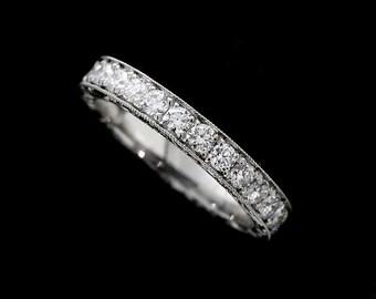 Over 1ct Diamond Eternity Wedding Ring, Hand Engraved Wedding Ring, Vintage Style Women's Wedding Band, Scroll Milgrain Platinum Band 3mm