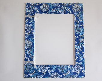 Blue Paisley Matte, Cottage Decor, Blue and White Decor, 11x14 Mattes for Frame, 8x10 Photo Mattes, 11x14 Matte, Matte for 11x14