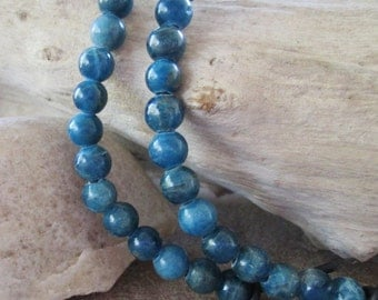 """Round 8mm Blue Apatite Large Hole Bead Big 2.5 mm Hole 7.5-8"""" Approx. 25 Beads SALE"""