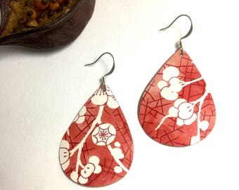 Cherry Blossom // Recycled Repurposed Tin Earrings