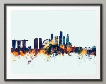 Singapore Skyline, Singapore Cityscape Art Print (2518)