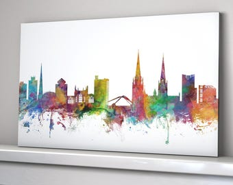 Coventry Skyline Canvas, Coventry Cityscape Box Canvas Art Print (1066)