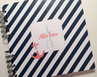 Baby Book |  Baby Memory Album | Nautical Coral Navy Wire Bound Baby Memory Book