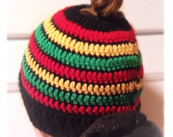 Rasta Colors - Adult Man, Woman, Child Size - Messy Bun Hair Hat - Runner - Handmade -  Black, Red, Yellow Gold, Green Acrylic Blend Yarn
