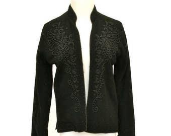 20% OFF SALE 50's Vintage Black Beaded Cardigan Sweater, 1950's Beaded Sweater, Black Cashmere Cardigan