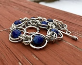 Blue Faceted Agate Chainmaille Bracelet