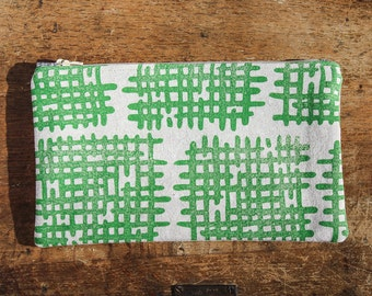 Crosshatch Zipper Pouch, Linocut Block Print, Green