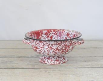 """Vintage Colander Red Speckled Graniteware Granite Ware Enamel Ware Strainer 9 5/8"""""""