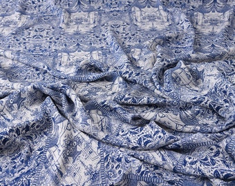 """100% silk Double Georgette fabric - vintage blue printing - 16m/m 55"""" for Spring/Summer Dresses/blouses/skirts/Scarf - by the yard"""