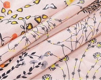 """Crepe de Chine silk fabric,  floral printing, 45"""" 12m/m, beautiful silk Fabric for Summer Dresses, shirts, blouse, by the yard"""
